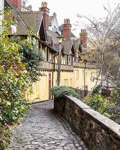 Yellow cottages with half timber facades in Dean Village, Edinburgh, Scotland   #cottage #facade #edinburgh #scotland #deanvillage