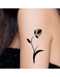 Black Tulip Temporary Tattoo On Arm