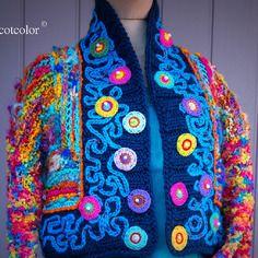 """Boléro tricot fait main en pure laine """" l'habit de lumière """""""