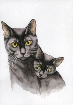 Black cats kitten paintings 5x7 print from by Earthspalette, $10.00