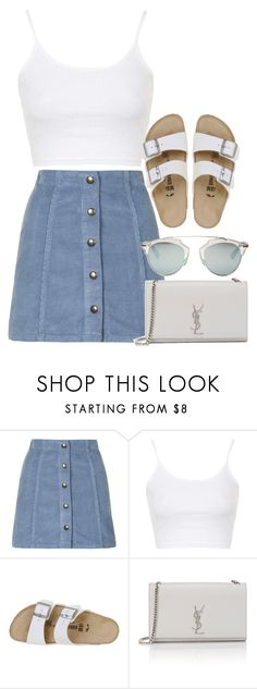 """Untitled #2660"" by elenaday on Polyvore featuring Topshop, Birkenstock, Yves Saint Laurent and Christian Dior"