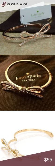 NWT Gold Kate Spade Skinny Mini Pave Bow Bangle Gold Kate Spade Skinny Mini Pave Bow Bangle. Brand new. Never used. Original dust bag and box included. kate spade Jewelry Bracelets