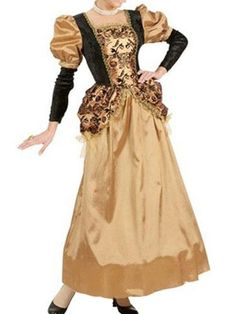 Milanoo.com - milanoo.com Halloween Vintage Costume Women's Gold Dress Retro Costume - AdoreWe.com