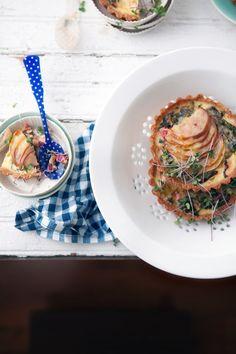 swiss chard, pear and gruyère tart