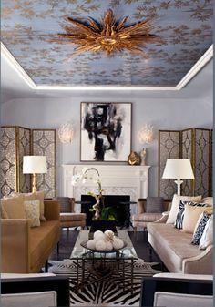 In Love With This Wallpapered Ceiling Retro Wohnzimmer, Schlafzimmer  Tapete, Einrichtungsideen Wohnzimmer, Schlafzimmer