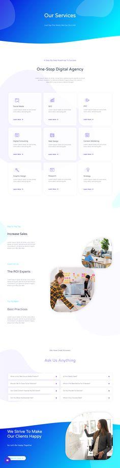 Digital Agency – Landing Page Wordpress Template, Template Web, Free Website Templates, Website Design Inspiration, Ui Inspiration, Card Ui, Web Design, Portfolio Website Design, Layout