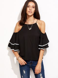 Shop Contrast Trim Cold Shoulder Ruffle Top online. SheIn offers Contrast Trim Cold Shoulder Ruffle Top & more to fit your fashionable needs.