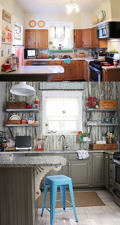 This kitchen's reclaimed-wood backsplash bought from an old farmhouse is its most complimented new feature.