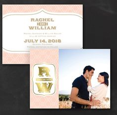 Glistening Crest - Photo Save the Date Card in blush and gold foil Photo Invitations, Save The Date Invitations, Save The Date Cards, Invitation Design, Invites, Blush And Gold, Glitz And Glam, Event Decor, Getting Married