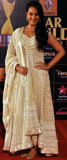 Sonakshi Sinha in bage anarkali with sequin and thread work by Abu Sandeep