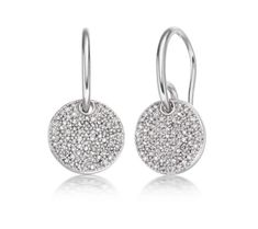 These beautiful earrings in Sterling Silver are set with multiple sparkling Pave Diamonds totaling 0.50 carats. Each disc measures approximately 11.3mm (0.4