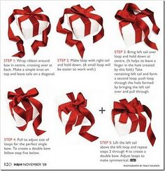 Ribbons and Gift Wrapping Techniques. I love this because when I tie bows, I always end up with the long part sticking out the top which is just not pretty. How To Tie Ribbon, How To Make Bows, Ribbon Bows, Ribbons, Holiday Fun, Christmas Holidays, Christmas Crafts, Christmas Decorations, Celebrating Christmas