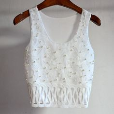 clothes camera on sale at reasonable prices, buy Summer Style Fitness Womens Beaded Embroidery Tanks Bustier Crop Tops Sexy Lace Bralette Nightclub Party Top Cheap Clothes China from mobile site on Aliexpress Now! Indian Fashion Dresses, Boho Fashion, High Fashion, Fashion Outfits, Style Fitness, Cheap Clothes, Clothes For Women, Party Tops, Lace Bralette