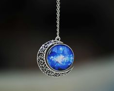 Unique design handmade crescent moon necklace galaxy star universe nebula resin cab charm pendant jewelry girl women gift US $8.99