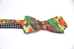 Blue Self Tie Bow Tie. Gold Men Bow Tie. Green by WingedBowTies