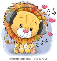 Buy Cartoon Lion with Headphones and Hearts by on GraphicRiver. Cute cartoon Lion with headphones and hearts on a blue background Cartoon Cartoon, Cute Cartoon Animals, Cartoon Drawings, Animal Drawings, Cute Drawings, Cute Animals, Lion Drawing, Cute Lion, Free Vector Art