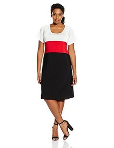 Awesome Star Vixen Women's Plus Size Short Flutter Sleeve Tricolorblock Dress, Value Not Found, Value Not Found