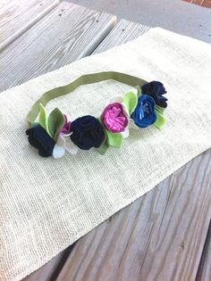 Felt Flower Crown // Purple Blue  Navy // First by fancyfreefinery, $23.50