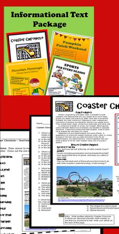 """This package contains four informational text resources about fun activities. Each one includes a page of informational text, a page of multiple choice questions, and a graphic organizer. The three sample pages shown are from """"Coaster Chronicle."""" $"""