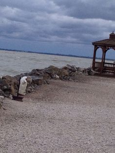 Strong winds, waves looking at Sandusky Bay from Marina Dock of the Bay Park