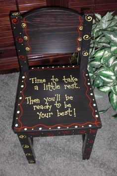 Hand Painted Childrens Chair - Time Out Chair