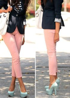 Navy blazer, rose pants, and eggshell pumps