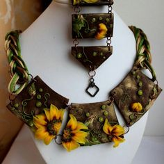Sunflowers necklace, trendy jewelry for ladies. Polymer clay exclusive jewelry