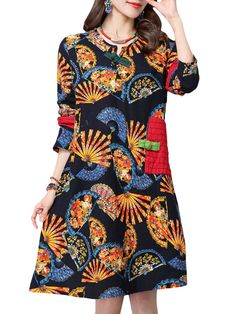 Sale 13% (27.29$) - Vintage Women Ethnic Print Patchwork Pocket Long Sleeve Loose Dress