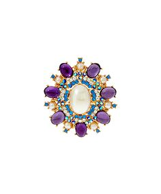 Purple Crystal & Goldtone Royal Estate Style Brooch. . ...  Joan Rivers Classics Collection. . . $44.99 $65.00 : Product Description:  Rich and regal, this brooch is elegantly designed to resemble an estate-style piece. Oval cabochons are paired with faceted round crystals to polish your look in a cinch.      Includes, brooch, box, jeweler's pouch, romance card  .     2.62'' W x 2.37'' L  .     Standard pin bar stem and catch  .     Crystal / resin / goldtone metal  .     Imported