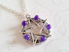 Pentacle Protection Necklace in Purple Agate Hand Crafted by Isis Creations ~Wiccan, Pagan, Spiritual Healing Gift Idea 4 Samhain & Yule by IsisCreationz on Etsy