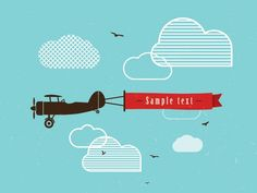 Vintage Airplane Banner Graphic available in EPS vector format // advertisement, background, banner, cloud, clouds, message, plane, propeller, retro, sign, sky, vector, vintage
