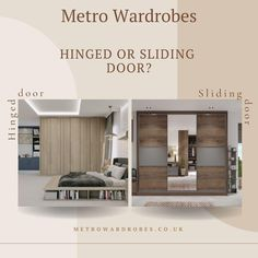 What will you select a Hinged Door or Sliding Door Wardrobe ? Its a general question people usually have in their mind when they are seeking to have a bespoke fitted furniture. Hovewer, now you do not need to worry because we are here to answer all of your questions till you get your desire wardrobe to be fitted in your home. For more information you can also call us at 07985355647 You can also book a free design visit today on metrowardrobes.co.uk/book-free-wardrobe-design-visit/ Wardrobe Design, Sliding Door, Free Design, Bedroom Furniture, Bespoke, Book, People, Bed Furniture, Taylormade