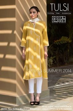 yelllow salwar kameez from tulsi online