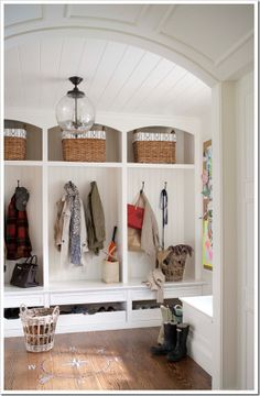 Mud room Design by Lauren Muse, photography by John Bessler via Marcus Design I am a sucker for a mudroom with storage lockers. And beadboard. And white. And great light fixtures. Entryway Storage, Shoe Storage, Coat Storage, Storage Drawers, Shoe Shelves, Organized Entryway, Backpack Storage, Basket Storage, Shelving