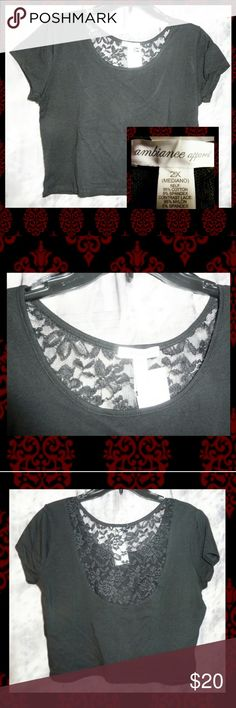 """Solid Black W/Upper Lace Back Crop Top 2X BRAND NEW W/TAGS Ambiance Apparel brand Black Knit Crop Top Jrs Plus Size 2X.  *Approx Womans Size 14/16 *All over solid black color *Scoop neckline *Short sleeves *Sheer floral lace on the upper back area *Very Lightweight *Has all over stretch *Soft knit material *SELF Made of 95% Cotton/5% Spandex *CONTRAST LACE Made of 95%Nylon/5% Spandex  NOTE: In order to show details, I needed to use the flash.  MEASUREMENTS Pit to Pit: 21.5""""+ Sleeve…"""