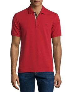 BURBERRY SHORT-SLEEVE OXFORD POLO SHIRT, MILITARY RED. #burberry #cloth #