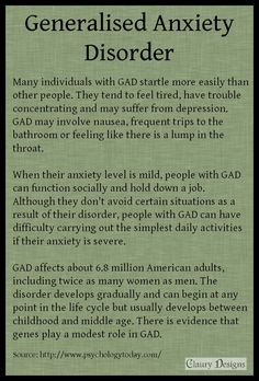 Many individuals with GAD startle more easily than other people. They tend to feel tired, have trouble concentrating, and may suffer from depression. GAD may involve nausea, frequent trips to the bathroom, or feeling like there is a lump in the throat. When their anxiety level is mild, people with GAD can function socially and hold down a job. Although they don't avoid certain situations as a result of their disorder, people with GAD can have difficulty... #GAD #anxiety #mental #health…