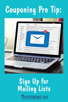 Save money by signing up for mailing lists! Check out this post for all the ways your email can be helping you save on your favorite brands and products. Couponing 101, Coupons, Saving Money, Motivation, Signs, Board, Check, Products, Coupon