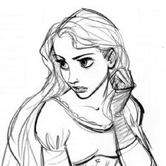 Rapunzel concept art - I love the cute fingerless gloves -- they look like the ones from the Tim Burton Alice in Wonderland!
