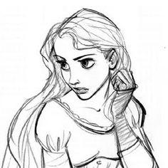 Rapunzel concept art It's gotta be Glen Keane. Disney Sketches, Disney Drawings, Art Drawings, Disney Artwork, Drawing Faces, Character Sketches, Character Design References, Character Art, Disney Kunst