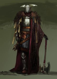 Warlord or dark knight in heavy armour with axe