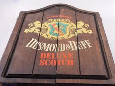 Vintage Dart board Cabinet  Desmond & Duff Deluxe Scotch Promotional Dart Board Case Made in England Man Cave Valentine's Gift for Him 129.99 USD