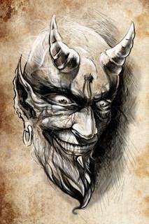 tattoo devil hell, illustration, handmade draw over vintage paper
