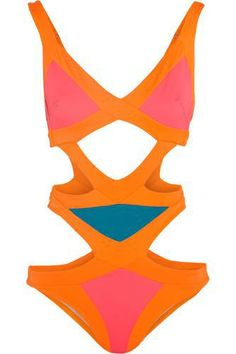 Neon-pink, orange and turquoise stretch polyester-blend Pulls on polyester, polyamide, elastane Hand wash Cut Out One Piece, One Piece Suit, Agent Provocateur, Orange One Piece, Orange Swimsuit, Bikini Swimsuit, Cut Out Swimsuits, Swimsuits 2016, Topshop