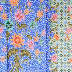 blue and orange  print vintage flowers   cotton by 18dec on Etsy, $20.00