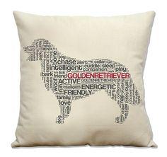 Golden Retriever 16 Pillow  Natural Cotton Canvas by DogCityandCo