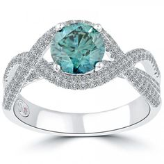 2.54 Carat Certified Fancy Blue Round Diamond Engagement Ring 18k White Gold - Fancy Color Engagement Rings - Engagement - Lioridiamonds.com