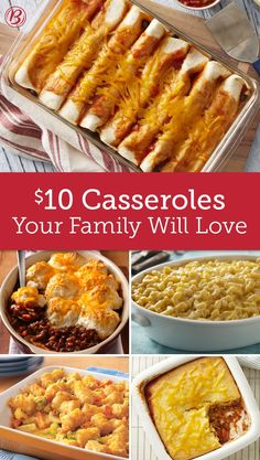 Made with simple, inexpensive ingredients like ground beef, chicken and pasta, these hearty casseroles will fill everyone up without emptying your wallet.