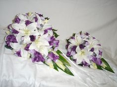WHITE LILY, WHITE, PURPLE, MAUVE & SILVER ROSE TEARDROP BRIDAL BOUQUET & POSY TO THROW | by Bridal Creations By Julie