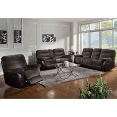Coaster Elaina 3Pc Motion Living Room Set in Chocolate/Brown
